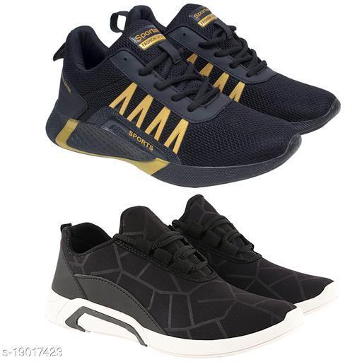 Trendy Men's Combo Mesh Black Sports Shoes