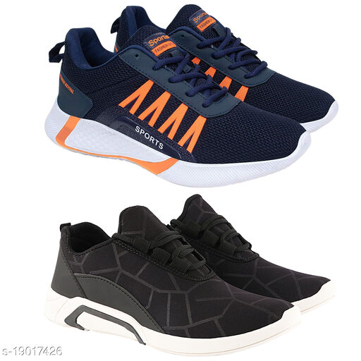 Stylish Men's Combo Mesh Black Sports Shoes