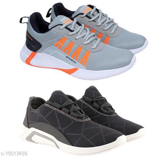 Stylish Men's Combo Set Mesh Grey Casual Shoes