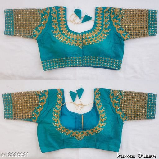 Women's Multicolor Floral Checks Back Design and Check Sleeves Embroidery Phantom Silk Readymade Blouse For Saree and Lehenga Choli