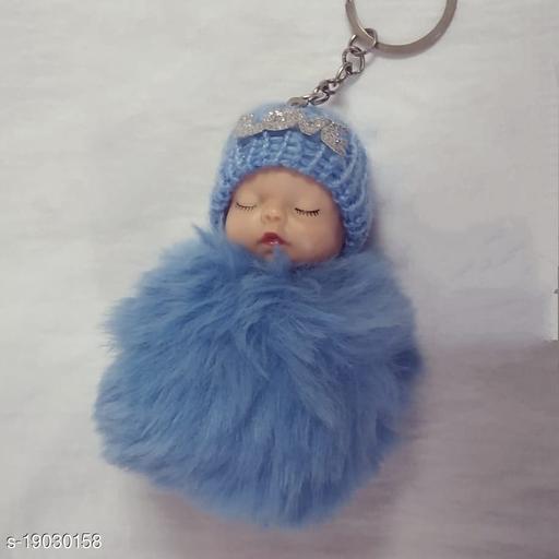 cute sleeping baby fur ball pompon key chain
