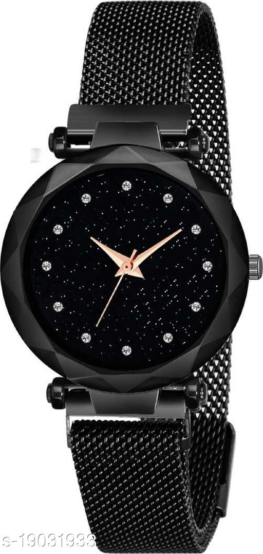 NEW Luxury Mesh Magnet Buckle Starry sky Quartz Watches For girls Fashion Mysterious Black Lady Analog Watch Analog Watch