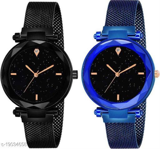NEW Looking 2020 Magnet Buckle Starry sky Quartz Watches For Women 05 Analog Pack of 2 Women Watch