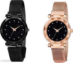 NEW Luxury Mesh Magnet Buckle Starry sky Quartz Watches For girls Fashion Mysterious Black Lady Analog Chain Belt Bracelate Watch For Women & Girls Analog Watch