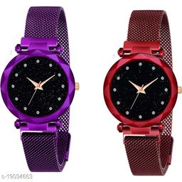 NEW Luxury Mesh Magnet Buckle Starry sky Quartz Watches For girls Fashion Mysterious Purple&Red Lady Designer Fashion Wrist Analog Pack of 2 Women Watch
