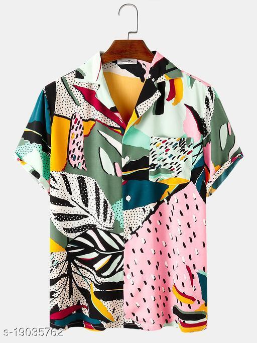 Men's Premium Poly Cotton Printed Half Sleeve Shirt :- MN - 0030