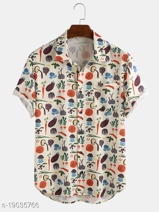 Men's Premium Poly Cotton Printed Half Sleeve Shirt :- MN - 0025
