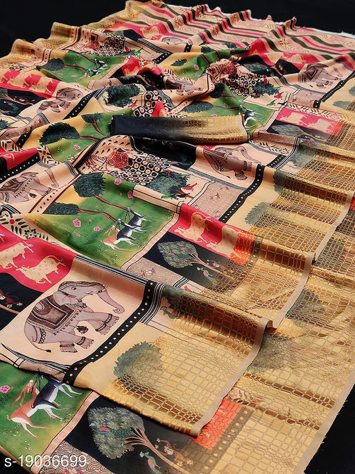 SERONA FABRICS women's Sana Silk Digital Printed With Contrast matching Blouse Party Wear Saree