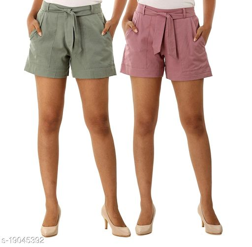 Rajkanya Set of 2 Cotton Shorts with Belt for Girls and Women Grey & Orchid XXL