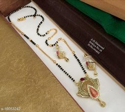 Brass Designer Gold Plated Mangalsutra With Earring