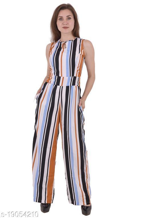 White Striped Pattern Stylish Jumpsuit