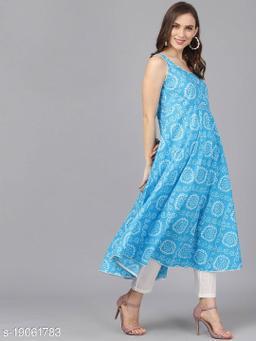 AKS Women Turquoise Blue & White Printed Anarkali Kurta