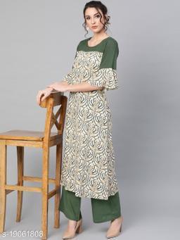 AKS Women Cream & Olive Green Printed A-Line Kurta