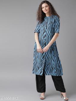 AKS Women Blue & Black Printed A-Line Kurta