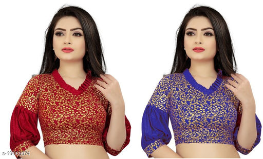 Women's Red & Blue Paan Neck Solid Cotton Lycra Fully Stitched Blouse