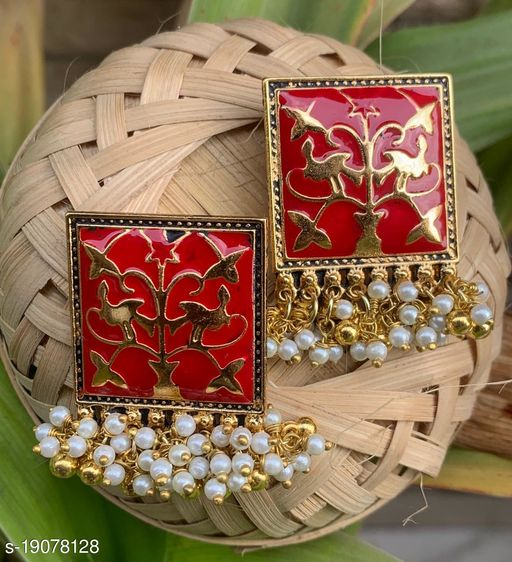 Koorie Fashion Designer Traditional Oxidized Silver Afghani Style Big Colored Enamel Work Ghungroo Earrings for Women and Girls