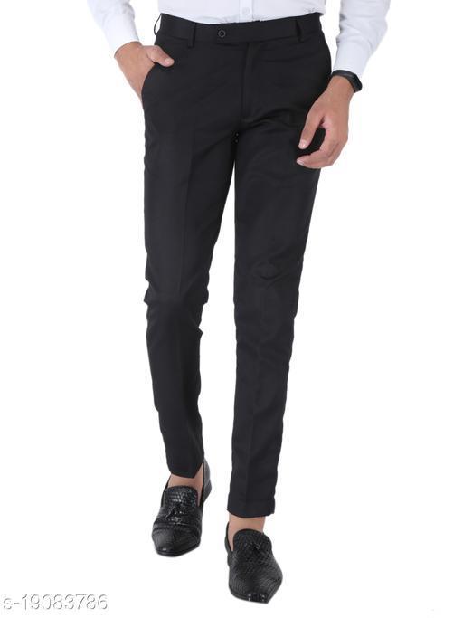 SREY Black Slim Fit Formal Trouser
