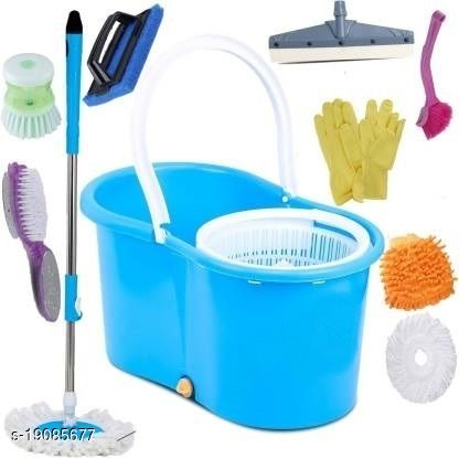 360 Degree Rotating Plastic Jali Bucket Mop Set with 2 Absorber & also 7 Household accessories(Multicolour)