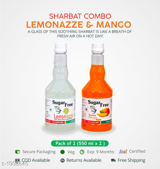 Sharbats and Thandais Lemonazze + Mango  Sharbat Pack of 550 ML each. Sugarfree Fitness Sharbat, Ideal For Management Of Diabetes And Body Weight.   *Sizes Available* Free Size *    Catalog Name: Refreshing Sharbats Vol 3 CatalogID_251630 C94-SC1366 Code: 225-1908645-525