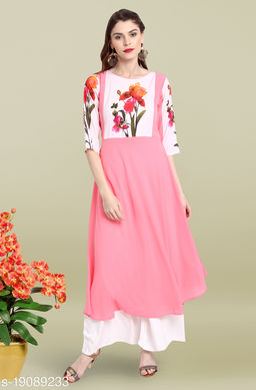 Janasya Women's Pink Poly Crepe Kurta