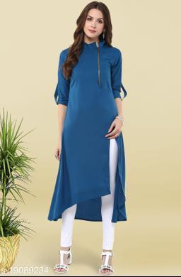 Janasya Women's Blue Poly Crepe Kurta