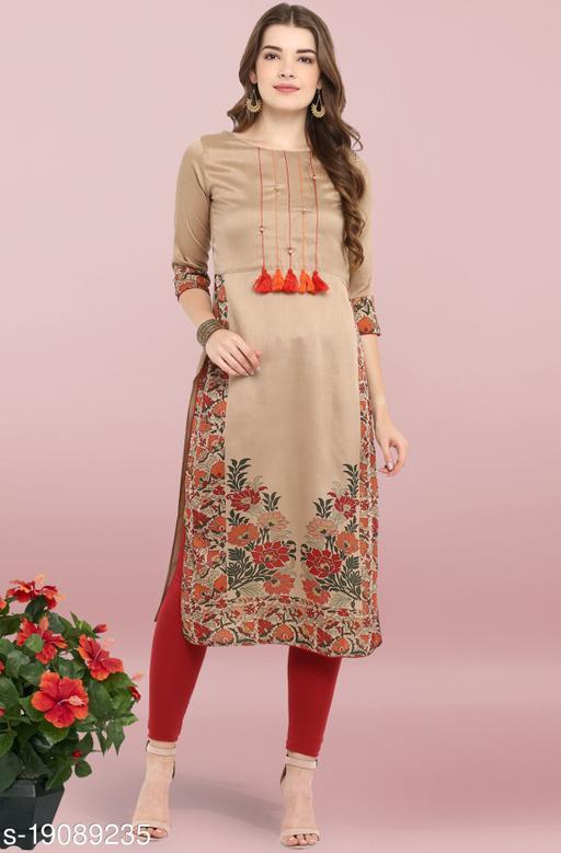 Janasya Women's Light Brown Poly Silk Kurta