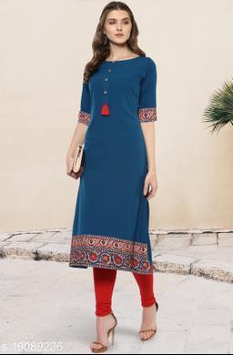Janasya Women's Turquoise Poly Crepe Kurta