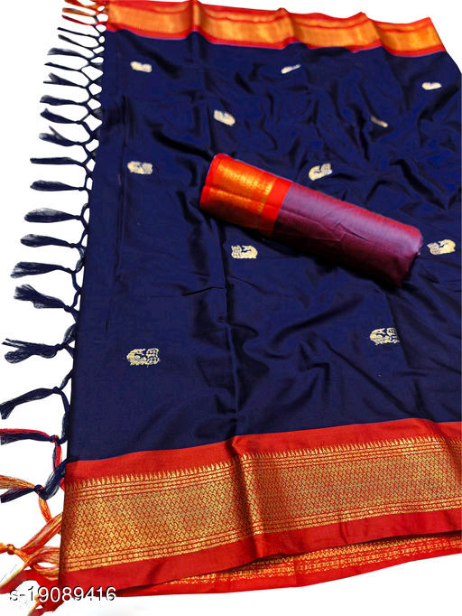 MH Traditional Paithani Silk saree With Attached Contrast Blouse Piece