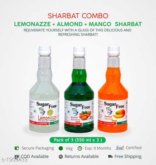 Sharbats and Thandais Lemonazze + Almond + Mango  Sharbat Pack of 3 550 ML each. Sugarfree fitness sharbat, ideal for management of diabetes and body weight.   *Sizes Available* Free Size *    Catalog Name: Delicious and Aromatic Cool Sharbats Vol 4 CatalogID_251755 C94-SC1366 Code: 225-1909433-525