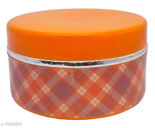 Kotak Sales Swiss Insulated Lunch Box 600ML & 180ML Dip Container Hot Fresh Food Leak Proof Plastic Storage Inside Stainless Steel Food Grade Tiffin for Kids School Office Travel Use (Orange)
