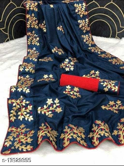 NEW STYLISH SILKY EMBRODERIED SAREE