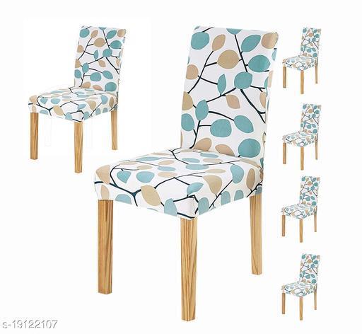 TradeVast Elastic Chair Cover (Set of 6) (Blue Green Leaf)