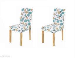 TradeVast Elastic Chair Cover (Set of 2) (Blue Green Leaf)