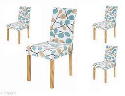 TradeVast Elastic Chair Cover (Set of 4) (Blue Green Leaf)