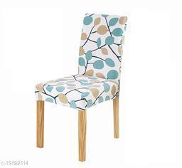 TradeVast Elastic Chair Cover (Set of 1) (Blue Green Leaf)