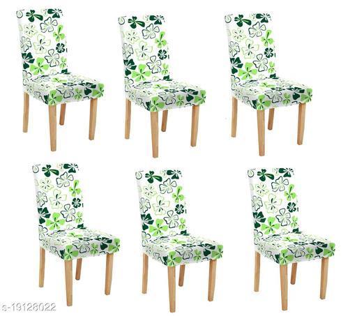 TradeVast Elastic Chair Cover (Set of 6) (Green White Flower)