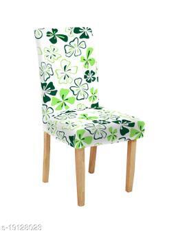 TradeVast Elastic Chair Cover (Set of 1) (Green White Flower)