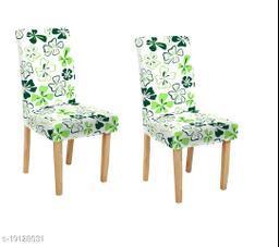 TradeVast Elastic Chair Cover (Set of 2) (Green White Flower)