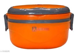 Kotak Sales Hot Single Thermal Insulated Stainless Steel Lunch Box With Folding Handle (Square_Orange)