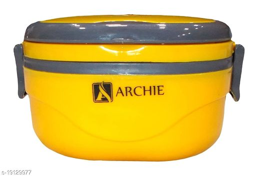 Kotak Sales Hot Single Thermal Insulated Stainless Steel Lunch Box With Folding Handle (Square_Yellow)
