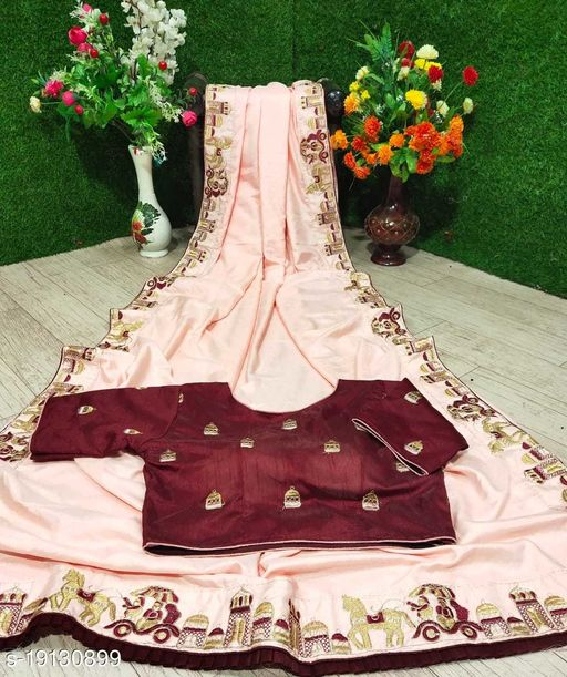 Dola Silk Embroidery Saree With Stitched Blouse