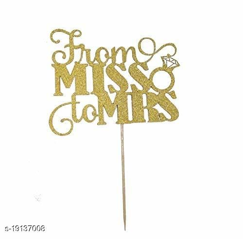 """Ziory 1 Pc Golden Glitter""""Miss to Mrs"""" Cake Topper for Decoration (15 * 12cm)"""