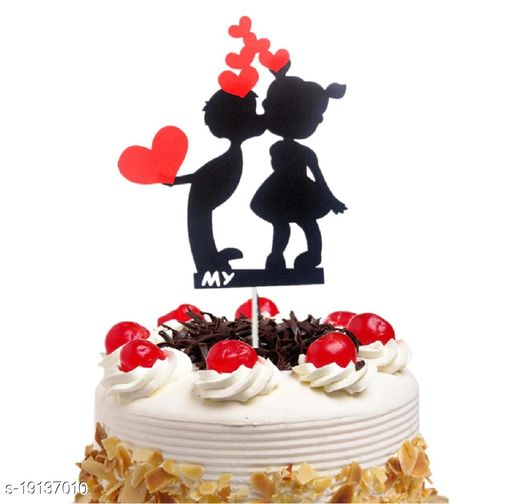 Ziory 1 Pc DIY Black with Red Hearts Wedding Valentine Cake Topper (14 * 11cm)