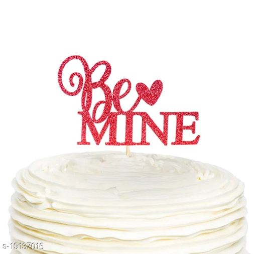 Ziory 1 Pc Glitter Valentine Day, Propose Day, Special Day (Be Mine) Cake Topper- Red