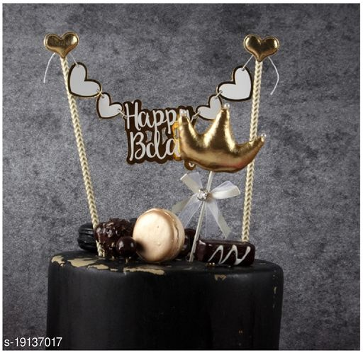 Ziory 1 Pc Golden Swan Happy Birthday Cake Topper for Decoration