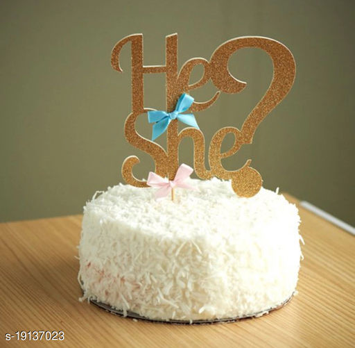 Ziory 1 Pc Baby Shower (He She?) Cake Topper - Golden (22.5cm *15cm) Party Decoration