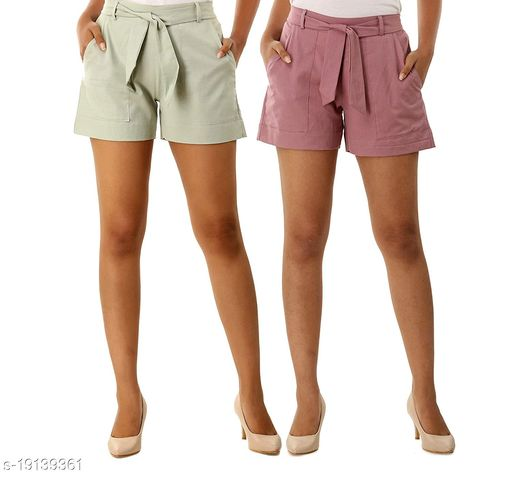 Rajkanya Set of 2 Cotton Shorts with Belt for Girls and Women Ice Grey & Orchid S