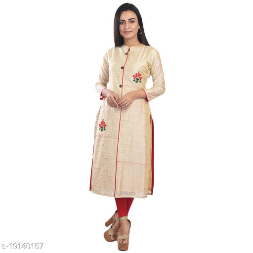 Zedds Beige Coloured Tassar Fabric Made High Neck 3/4 Sleeve Kurti For Women's-ZFK-2958BG