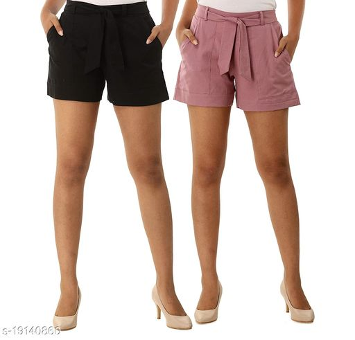 Rajkanya Set of 2 Cotton Shorts with Belt for Girls and Women Black & Orchid L