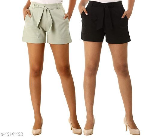 Aawari Set of 2 Cotton Shorts with Belt for Girls and Women Ice Grey & Black S